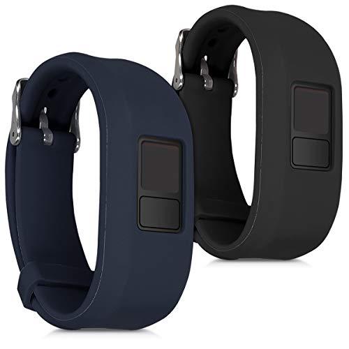 kwmobile 2X Pulsera Compatible con Garmin Vivofit 3 - Brazalete de Silicona Negro/Azul Oscuro sin Fitness Tracker