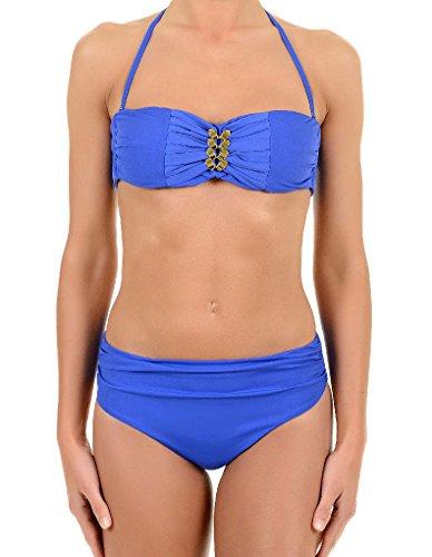 David Solid Balconette Neckholder Bikini Set in Blau 6465-DU 12 UK/38 EU