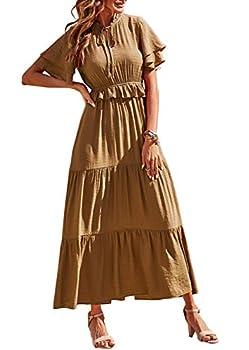 PRETTYGARDEN Women's Bohemian Sleeveless Maxi Dresses Square Neck Backless Ruffle Hem Long Dress  Coffee Small