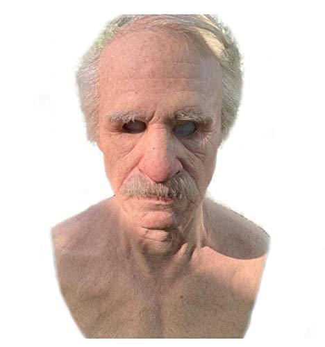 Sanyio Máscara de anciano realista, látex el anciano Sombrero de anciano Mascarillas faciales de arrugas masculinas Aspecto humano Disfraces de Halloween Cosplay Máscara de látex de cabeza com