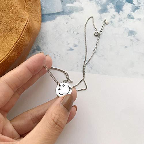 TAOYUN Women Necklace 925 Sterling Silver Girls Allergen-Free Ladies Retro Runde Karte Smiley Anhänger Schlüsselbein Kette Mode Dekoration Hypoallergenen Schmuck