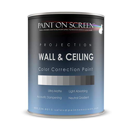 Projector Screen Paint - Wall/Ceiling Ambient Light Rejecting Acoustic Dampening - Light Grey-Gallon