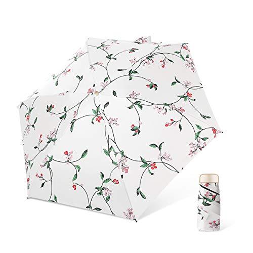 DORRISO Femmes Pliant Mini Parapluie Résistant Vent Compact Portable Léger Voyage étanche Femme Parapluie de Voyage Coupe-Vent Parapluie de Poche Blanc