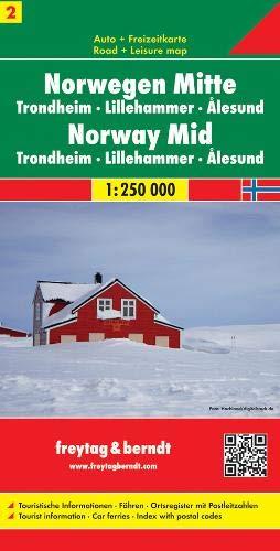 Centro de Noruega, Trondheim, Lillehammer, Alesund mapa de carreteras. Escala 1:250.000. Freytag & Berndt.: Trondheim 1:250 000 (Auto karte)