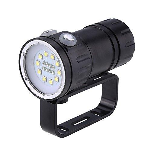 Linterna de buceo LED, luz de relleno para fotografía subacuática a prueba de agua 12000LM IPX8 con 7 modos de iluminación y soporte de soporte, lámpara de antorcha de buceo de 80 m para exteriores