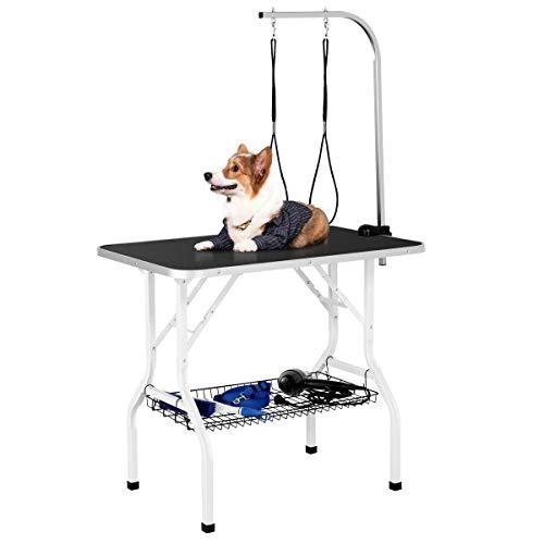 Yaheetech Mesa Peluqueria Canina Mesa Aseo para Perros/Gatos/Mascotas con 2 Correas Altura Regulable Ajuntable Superficie de Trabajo Antideslizante Más Grande