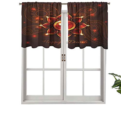 Hiiiman Cortina opaca con dobladillo para barra de cortina, diseño de cachemira, con vigas de Diwali, juego de 2, cenefa corta recta de 106,7 x 60,9 cm para sala de estar