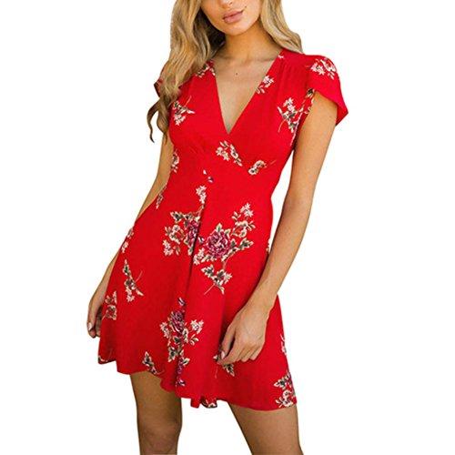 ESAILQ Damen Frauen Sommer Ärmelloses Party Kleide Ultra Damen Pique-Kleid(S,Rot)
