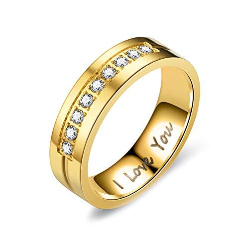 Daesar 1PCS Stainless Steel Rings Women Ring 6MM Wedding Bands Engraved Round I Love You Cubic Zirconia White Wedding Ring Women Gold Ring Size J 1/2