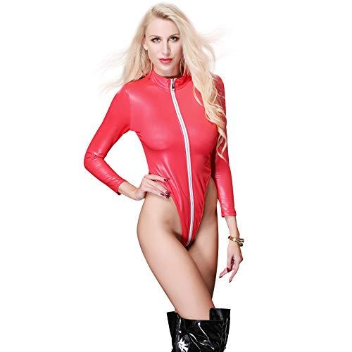 LXJ-KLD Vêtements pour boîte de Nuit Siamois en Cuir Verni à Fourche Haute Sexy pour Adultes,Red,M
