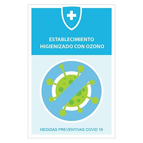 KIT 10 PEGATINAS MEDIDAS SEGURIDAD EMPRESA (3.0), super resistentes, lavables, vinilos establecimiento higienizado con ozono, con Protección acabado mate.