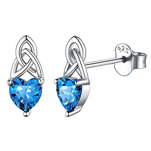 Zirconia Cúbica Deciembre Cristales Corazón de Nacimiento Pendientes Antialérgicos Nudo Celta Plata de Ley 925 Joyería Irlandesa Moderna Turquesa Azul Claro Orejas Sensibles