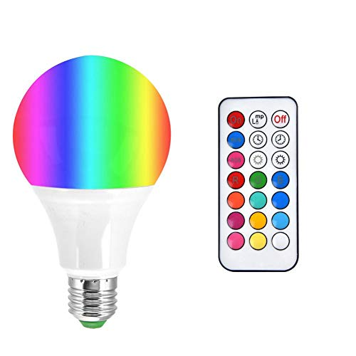 Zerodis E27 10W 16 Colori Dimmerabile Lampadina LED RGBW con Funzione Timer e Delay, Amazon Alexa e Google Home Artificial Voice Control WiFi Ball Bulb con Telecomando (RGB+Warm White)