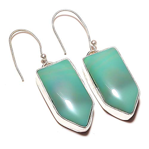 Blue Botswana Agate EARRING 2' Long, HANDMADE Silver Plated! Jewelry from Kashish! All Variety Store all Occasions