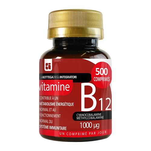 Vitamina B12 1000 mcg 500 comprimidos 1 al día | energía | sistema inmunitario | cianocobalamina metilcobalamina | no de origen animal