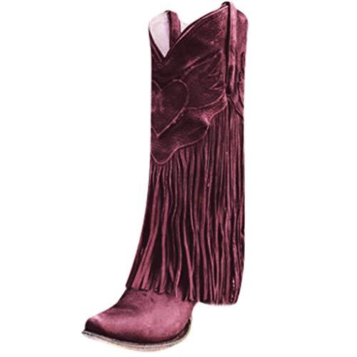 Stivali Donna Scarpe da Moda Autunno Inverno Pelle Casual Lunghi Stivali Tacchi Alti Slip On con Nappa (37 EU,Rosso)