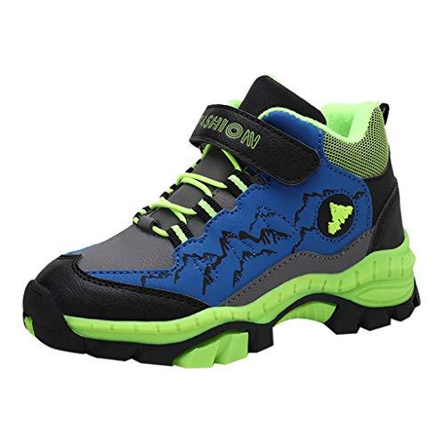 TTLOVE Kinder Jungen Sneakers Plus Baumwolle Outdoor Sportschuhe Casual rutschfeste Wanderschuhe Laufschuhe Kinder Turnschuhe Atmungsaktiv Hallenschuhe Sneaker Indoor(Grün,34 EU)