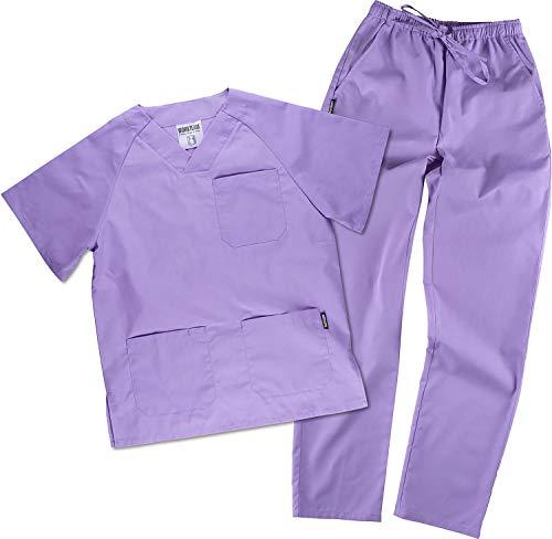 Work Team Uniforme Sanitario, con elástico y cordón en la Cintura, Casaca y Pantalon Unisex Lila M