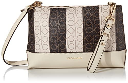 Calvin Klein Sonoma Key Item Signature Crossbody, Vanilla/Khaki Linear