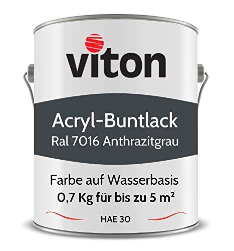 Buntlack von Viton - 0,7 Kg Anthrazit - Seidenmatt - Für Außen und Innen - 2in1 Grundierung & Lack - HAE 30 - Nachhaltige Farbe auf Wasserbasis für Holz, Metall & Stein - RA 7016 Anthrazitgrau