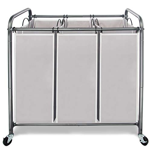 STORAGE MANIAC 3 Section Laundry Sorter 3 Bag Laundry Hamper Cart with Heavy Duty Rolling Lockable Wheels and Removable Bags Gray