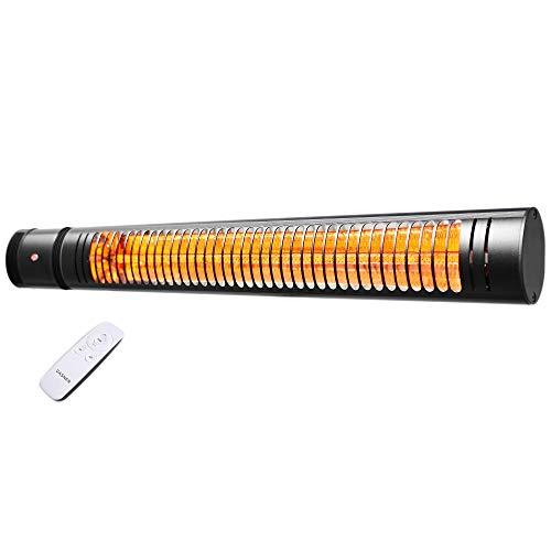 VASNER SlimLine X20 – Infrarotstrahler im Slim-Design, 2000 Watt Outdoor Heizstrahler, elektrischer Terrassenstrahler mit 5 Heizstufen & Fernbedienung, ideal für Terrasse & Außenbereich (Schwarz)