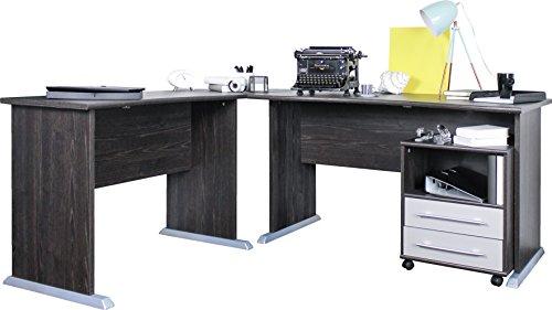 Germania 0495-512 Schreibtisch-Winkelkombination mit Rollcontainer, in Wengé-Havanna-Nachbildung, 190 x 75 x 170 cm (BxHxT)