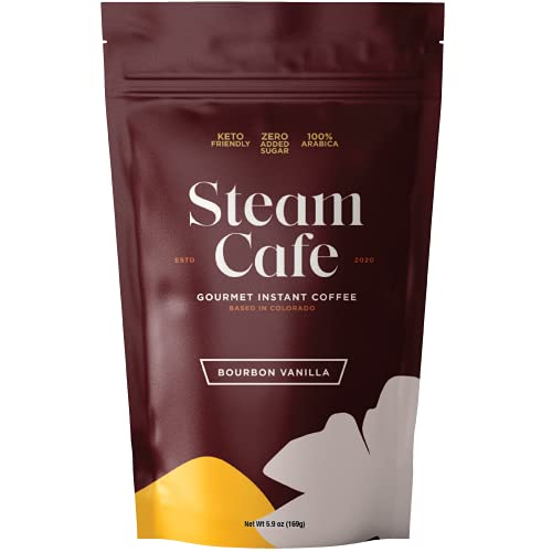 SteamCafe Gourmet Flavored Instant Coffee   15 servings   Bourbon Vanilla   0g Added Sugar, Keto and Paleo friendly, Gluten-free   Hot or iced, gourmet coffee in 1 minute