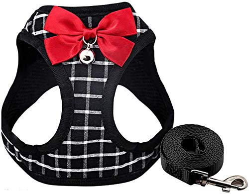 Cat Harness and Leash for Walking Small Cat and Dog Harness Escape Proof Pet Vest Harnesses with Bell and Bow-Knot Decoration (XS)