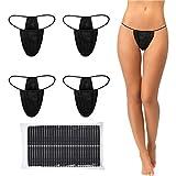 Giugu 50 Pieces Disposable Thong Panties Spa T Thong Underwear Tanning Wraps Disposable Bikini Thong Panties for Woman, Individually Wrapped Black