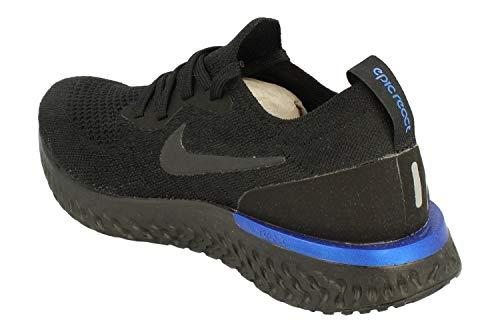 Nike Wmns Epic React Flyknit, Zapatillas de Running Mujer, Multicolor (Black/Black-Racer Bl 004), 36 EU