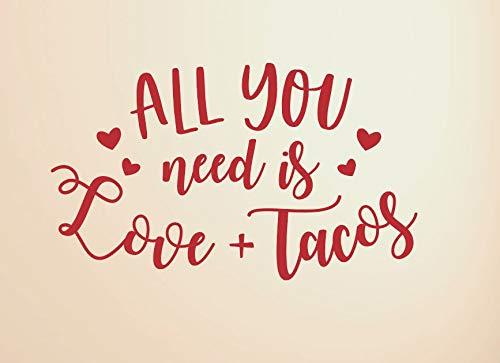 Calcomanías de vinilo All You Need is Love Tacos para decoración de San Valentín para manualidades con letreros All You Need is Love