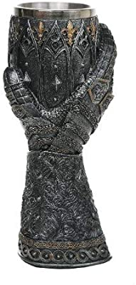 """Pacific Giftware Medieval Knight Lions Heart Gauntlet Style Wine Goblet 9"""" H"""
