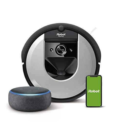 iRobot Roomba i7156 Robot Aspirapolvere, spazzole in gomma, adatto per peli, WiFi, app programmabile + Echo Dot (3ª generazione) Altoparlante intelligente con integrazione Alexa, Tessuto antracite