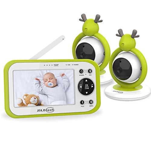 JSLBtech Vigilabebés Inalambrico con Cámara, Monitor de Bebé Visión Nocturna Pantalla LCD de 4.3', Comunicación Bidireccional, Visión Nocturna, Monitoreo de Temperatura, VOX (dos cámaras)