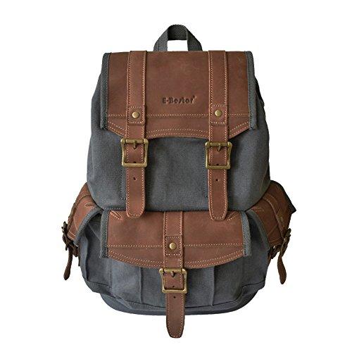 E-Bestar Borsa Zaino Backpack Cartella a Spalla Tracolla con pelle Uomo Donna Unisex borsa Vintage per Scuola Viaggi trekking (Grigio)