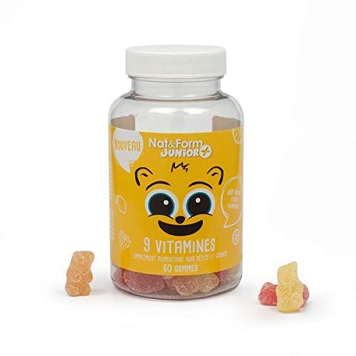 Oursons 9 Vitamines Enfants | Complément Alimentaire Nat&Form Junior+ | 60 Gommes 9 Vitamines | Croissance Vitalité Bonne Santé | Fabrication Française