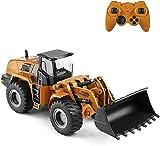 Wghz 1/14 RC Bulldozer Eléctrico Control Remoto Bulldozer RC Vehículos de construcción Juguete Cargador de Pala de Metal Tractor 2.4Ghz Luces LED Sonido Coche RC para niños niñas Adultos