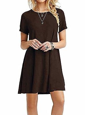 POSESHE Women's Short Sleeve Casual Loose T-Shirt Dress