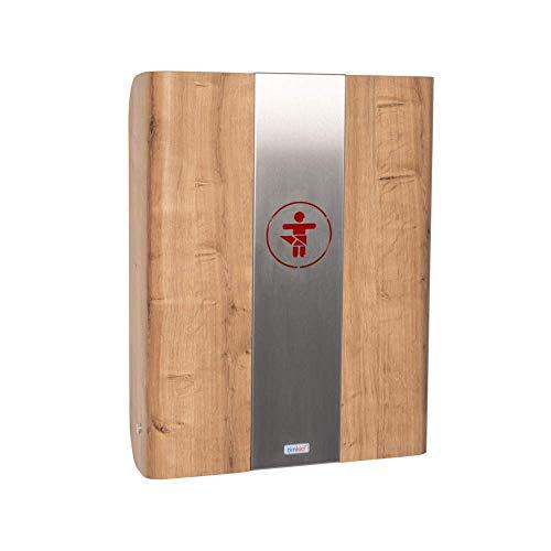 KAWAmidi oak | timkid Wickeltisch | TÜV-geprüft | klappbarer & platzsparender Wandwickeltisch | inkl. grauer Wickelmatte | Ideal für den öffentlichen & privaten Bereich | Mittelteil Edelstahl