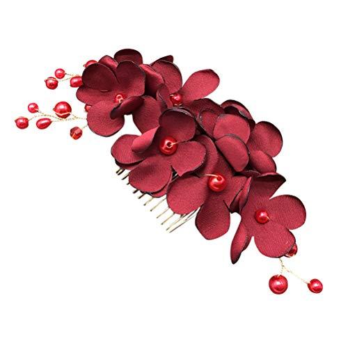 Lurrose Blumen Steckkamm mit Perlen Zähne Haarkamm für Hochzeit Braut Haarschmuck (Weinrot)