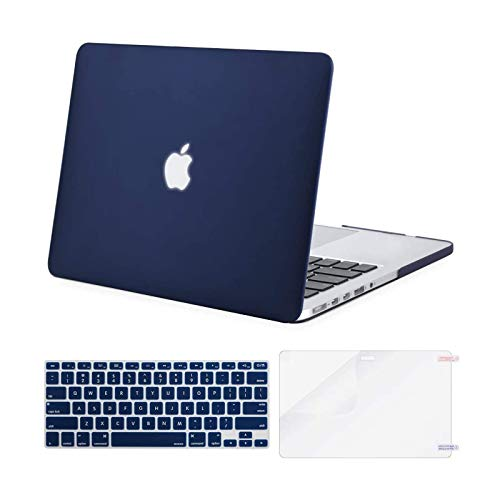 MOSISO Case Only Compatible with MacBook Pro Retina 13 inch (Models: A1502 & A1425) (Older Version Release 2015 - end 2012), Plastic Hard Shell Case & Keyboard Cover & Screen Protector, Navy Blue