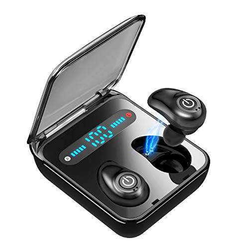 Wireless Earbuds Bluetooth 5.0 Headphones MOING TWS Built-in Mic Cordless Earphones for Android iPhone Total Playtime 36H in-Ear Earbuds with LED Battery Display Charging Case-Black