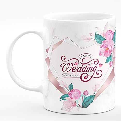 Chhaap Happy Wedding Anniversary Microwave Safe White Ceramic Coffee Mug (350 ml) Gift For Dad Mom Di Cousin Sis Daughter Jiju Tau Tai Bhaiya Bhabhi Special Person Sir Madam Mam Friend Bestii Bestfriend My Love Luv Lub Bua Fufaji Mama Mami Chacha Chachi Hubby Wifey Husband Wife Nanu Nani Baby Babu