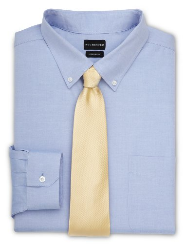 Rochester by DXL Big and Tall Oxford Pinpoint Dress Shirt, Blue, 19-38/39