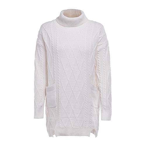 Vrouwen Winter Warm Coltrui Dames Lange Mouw Effen Kleur Gebreide Pocket Pullover Jumper Tops Knitwear UK Maat 8-14