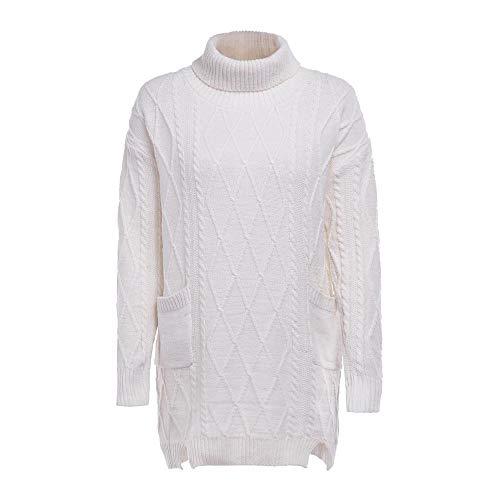 Vrouwen Winter Warm Coltrui Dames Lange Mouw Effen Kleur Gebreide Pocket Pullover Jumper Tops Knitwear UK Maat 8-14