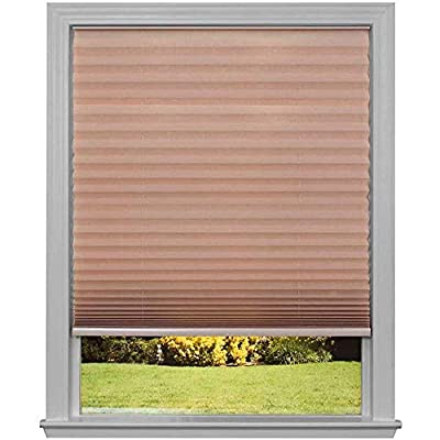 """Easy Lift Trim-at-Home Cordless Pleated Light Filtering Fabric Shade White, 30 in x 64 in, (Fits windows 19""""- 30"""")"""