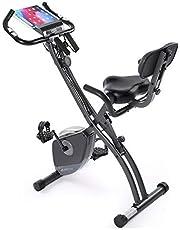 Maxkare フィットネスバイク エアロバイク 折りたたみ可能 静音 心拍数計測 8段階負荷調節 サドル調節可能 背もたれ エクササイズバンド付き 室内用 ダイエットトレーニング 多機能 日本語説明書