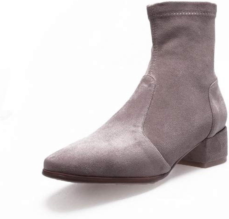 AdeeSu Womens Square Heels Chunky Heels Pointed-Toe Apricot Urethane Boots SXE04067-4.5 B(M) US